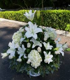white lilies basket fixed